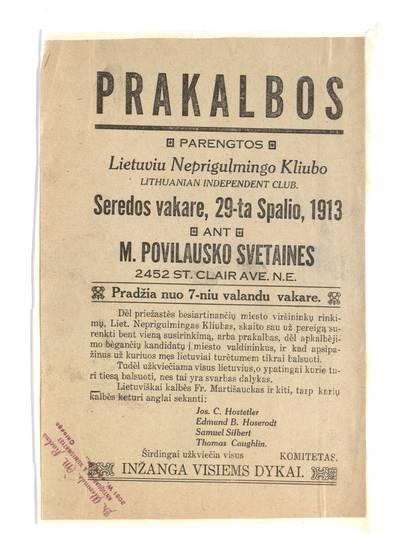 Prakalbos parengtos Lietuviu neprigulmingo kliubo (Lithuanian Independent Club) seredos vakare, 29-ta spalio, 1913 an M. Povilausko svetaines ...