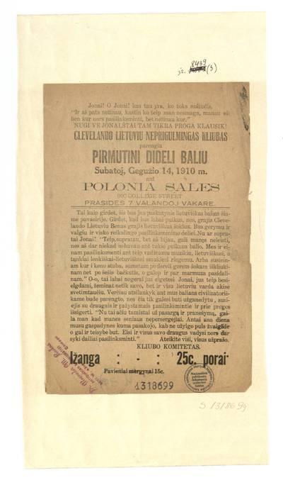 Clevelando lietuviu neprigulmingas kliubas parengia pirmutini dideli baliu subatoj, gegužio 14, 1910 m. ant Polonia sales 800 College street... - 1910