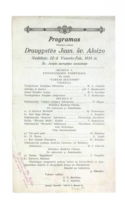 Programas parengto vakaro Draugystes jaun. šv. Aloizo nedėlioje, 22 d. vasario - Feb., 1914 m. šv. Jurgio parapijos svetaineje. - 1914