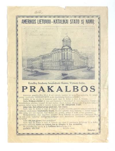 Prakalbos ketverge, gegužio - May 28 d., 8 val. vakaro, tuojaus po gegužinių pamaldų ... - 1925