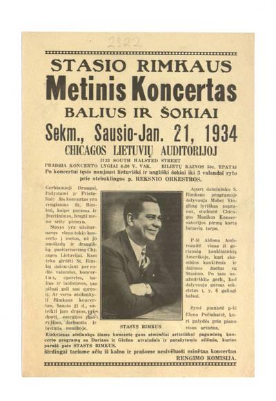 Stasio Rimkaus metinis koncertas. Balius ir šokiai. Sekm., sausio - Jan. 21, 1934 Chicagos lietuvių auditorijoj. - 1934
