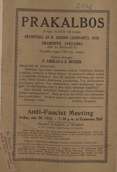 Prakalbos. Rengia ALDLD. 104 kuopa. Pėtnyčioj, 26 d. sausio (January), 1934 Gramonto svetainej ... Kalbės draugai F. Abekas ir E. Becker. - 1934