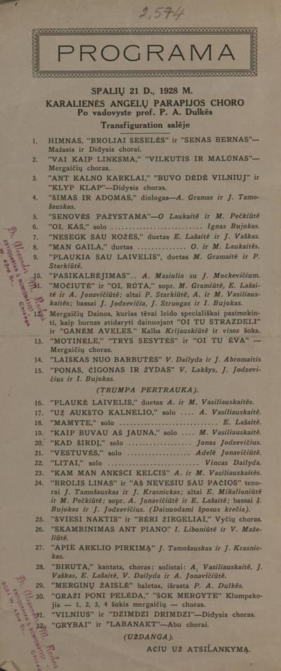 Programa, spalių 21 d., 1928 m. Karalienės angelų parapijos choro po vadovyste prof. P.A. Dulkės Transfiguration salėje. - 1928