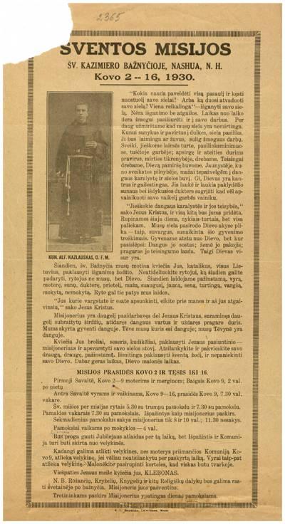 Šventos misijos Šv. Kazimiero bažnyčioje, Nashua, N.H. kovo 2 -- 16, 1930. - 1930
