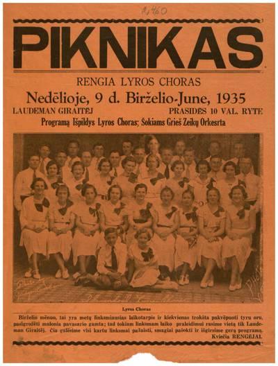 Piknikas. Rengia Lyros choras nedėlioje, 9 d. birželio - June, 1935 Laudeman giraitėj ... - 1935
