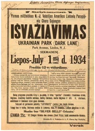 Pirmas milžiniškas N.J. valstijos Amerikos lietuvių parapijinių chorų sąjungos išvažiavimas, Ukrainian Park (Dark lane) ... Linden, N.J., sekmadienį liepos -July 1-mą d. 1934 ... / ... N.J. valstijos A.L.P. chorų sąj. valdyba. - 1934