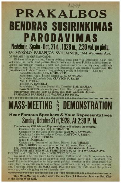 Prakalbos. Bendras susirinkimas. Parodavimas nedėlioje, spalio - Oct. 21 d., 1928 m. ... Šv. Mykolo parapijos svetainėje ... - 1928