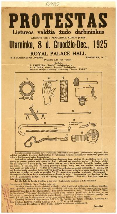 Protestas. Lietuvos valdžia žudo darbininkus. Ateikite į prakalbas, kurios įvyks utarnike, 8 d. gruodžio - Dec., 1925 Royal Palace Hall, Brooklyn, N. Y. - 1925