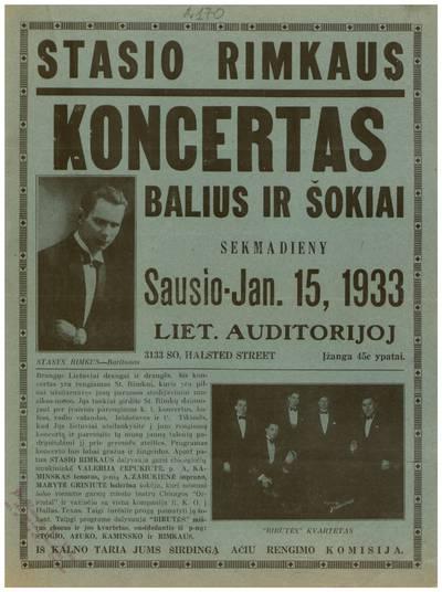 Stasio Rimkaus koncertas. Balius ir šokiai. Sekmadieny sausio - Jan. 15, 1933 Liet. auditorijoj. - 1933
