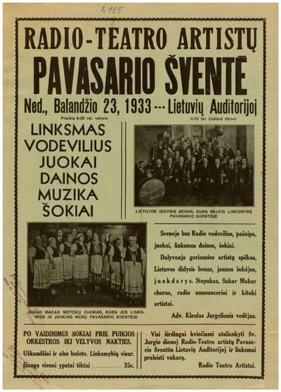 Radio-teatro artistų pavasario šventė ned., balandžio 23, 1933 Lietuvių auditorijoj ... - 1933