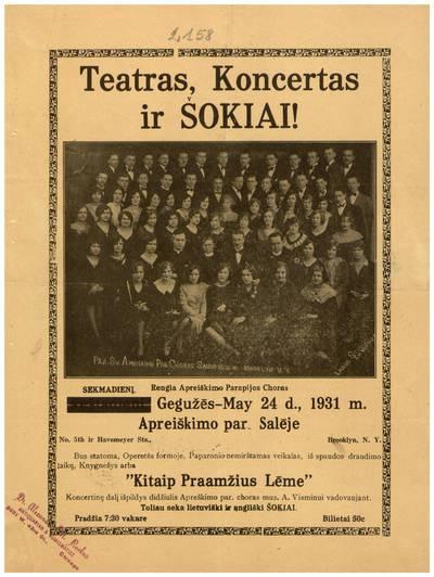 Teatras, koncertas ir šokiai! Sekmadienį, rengia Apreiškimo parapijos choras gegužės - May 24 d., 1931 m. ... - 1931