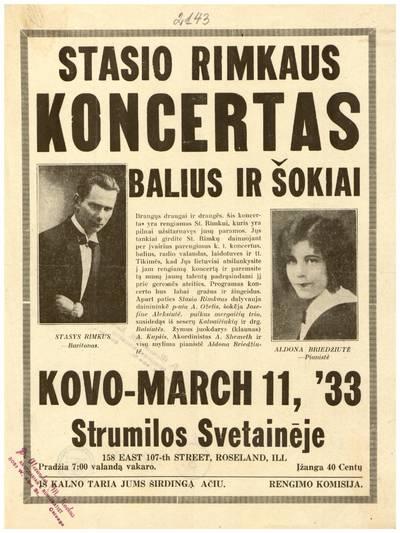 Stasio Rimkaus koncertas. Balius ir šokiai, kovo - March 11, '33 Strumilos svetainėje, Roseland, Ill. - 1933