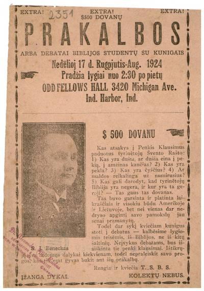Prakalbos arba debatai Biblijos studentų su kunigais. Nedėlioj 17 d. rugpjutis - Aug. 1924 ... Odd Fellows Hall, Ind. Harbor, Ind. Rengia ir kviečia T.S.B.S. - 1924