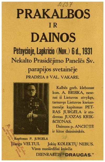 Prakalbos ir dainos pėtnyčioje, lapkričio (Nov.) 6 d., 1931 Nekalto Prasidėjimo Panelės Šv. parapijos svetainėje ... - 1931