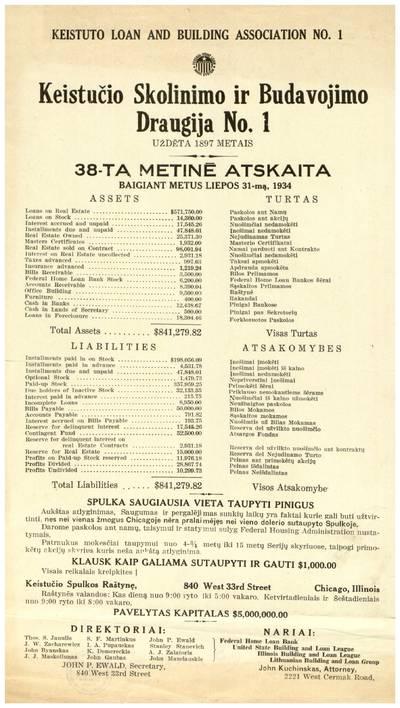 Keistučio skolinimo ir budavojimo draugija No. 1. 38-ta metinė atskaita, baigiant metus liepos 31-mą, 1934. - 1934