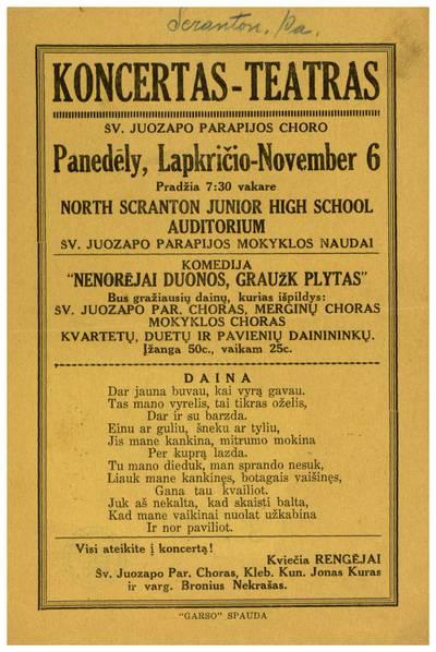 Koncertas-teatras Šv. Juozapo parapijos choro panedėly, lapkričio - November 6 ... North Scranton Junior High School Šv. Juozapo parapijos mokyklos naudai. - apie1923-1936
