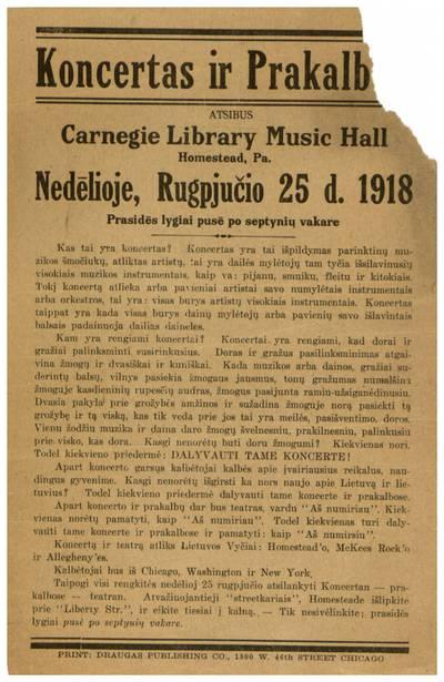 Koncertas ir prakalbos. Atsibus Carnegie Library Music Hall Homestead, Pa. nedėlioje, rugpjučio 25 d. 1918 ... - 1918