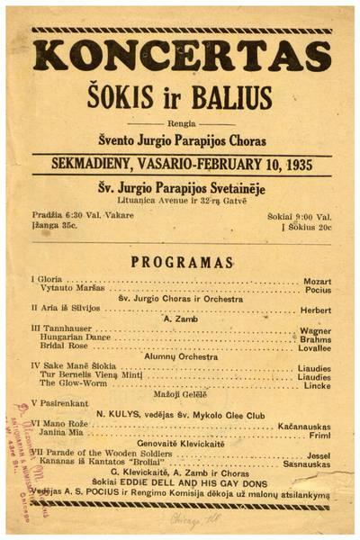Koncertas šokis ir balius. Rengia Švento Jurgio parapijos choras sekmadieny, vasario - February 10, 1935 Šv. Jurgio parapijos svetainėje ... - 1935