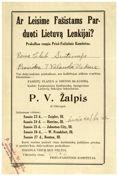 Ar leisime fašistams parduoti Lietuvą Lenkijai? Prakalbas rengia prieš-fašistinis komitetas ... - apie 1935-1938