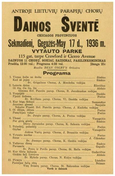 Antroji lietuvių parapijų chorų Dainos šventė Chicagos provincijos sekmadienį, gegužės - May 17 d., 1936 m. Vytauto parke. - 1936