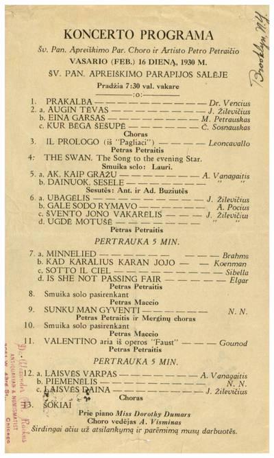 Koncerto programa Šv. Pan. Apreiškimo par. choro ir artisto Petro Petraičio vasario (Feb.) 16 dieną, 1930 m. Šv. Pan. Apreiškimo parapijos salėje. - 1930
