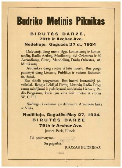 Budriko metinis piknikas Birutės darže ... nedėlioje, gegužės 27 d., 1934 ... - 1934