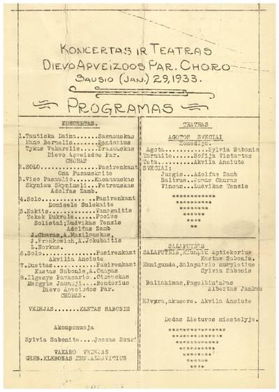 Koncertas ir teatras Dievo Apveizdos par. choro sausio (Jan.) 29, 1933. - 1933