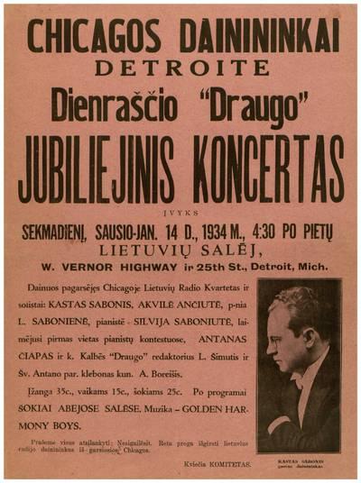 Chicagos dainininkai Detroite. Dienraščio