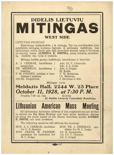 Didelis lietuvių mitingas West Side / Al. Smitho lietuvių centralinis komitetas. - 1928