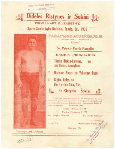 Dideles ristynes ir sokiai. Pirmu kart Elizabeth'e sporto svente ivyks nedelioje, sausio, 8 d., 1933 Parapijos auditorijoje ... Elizabeth, N.J. rengiama Šv. Petro ir Povylo parapijos ... - 1933