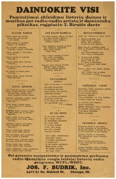 Dainuokite visi. Paminėjimui skleidimo lietuvių dainos ir muzikos per radio-radio artistų ir dainininkų piknikas, rugpiučio 2, Birutės darže ... - 1936