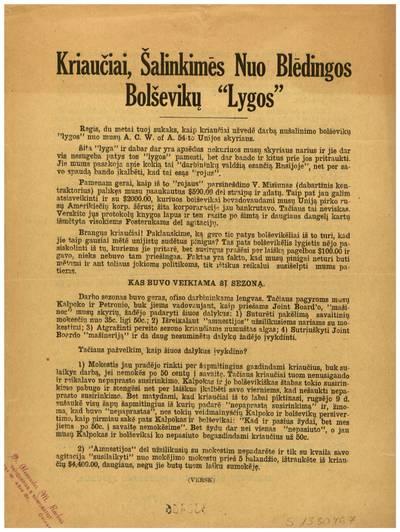 Kriaučiai, šalinkimės nuo blėdingos bolševikų