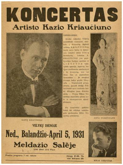 Koncertas artisto Kazio Kriaučiuno. - 1931