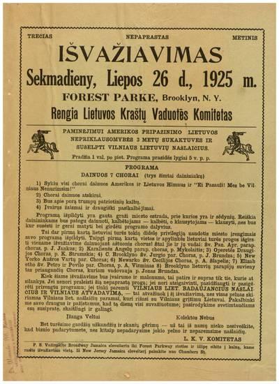 Trečias nepaprastas metinis išvažiavimas sekmadieny, liepos 26 d., 1925 m. Forest Parke, Brooklyn, N.Y. Rengia Lietuvos kraštų vaduotės komitetas ... - 1925