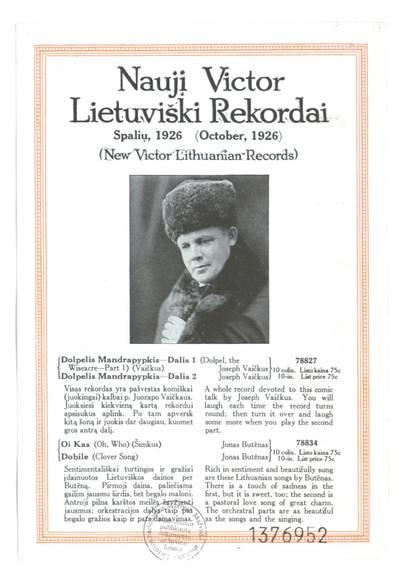 Nauji Victor lietuviški rekordai. - 1926
