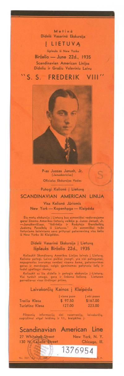 Metinė didelė vasarinė ekskursija į Lietuvą išplauks iš New Yorko birželio-June 22 d., 1935 Scandinavian American linijos dideliu ir gražiu veleviniu laivu