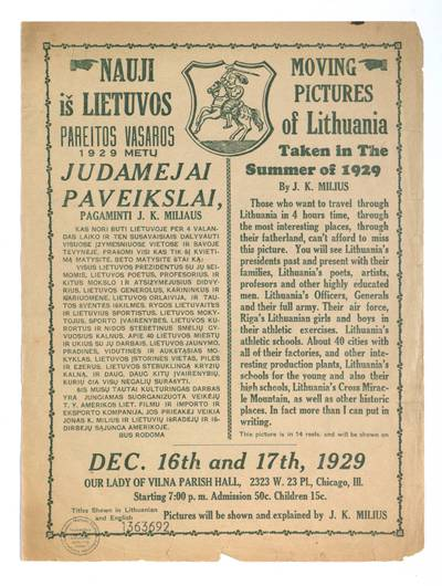 Nauji iš Lietuvos pareitos vasaros 1929 metų judamejai [!] paveikslai, pagaminti J.K. Miliaus. - 1929