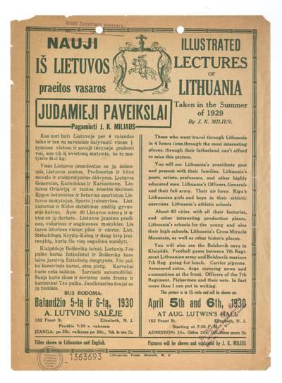 Nauji iš Lietuvos praeitos vasaros judamieji paveikslai pagaminti J.K. Miliaus. - 1930