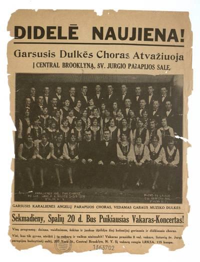Didelė naujiena! Garsusis Dulkės choras atvažiuoja į Central Brooklyną, Šv. Jurgio parapijos salę sekmadieny, spalių 20 d. ... - 1929