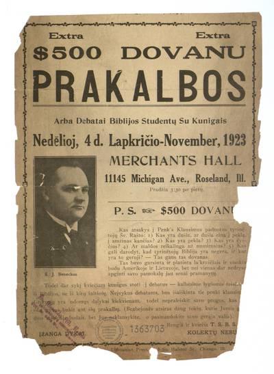 Prakalbos arba debatai Biblijos studentų su kunigais. Nedėlioj, 4 d. lapkričio - November, 1923 Merchants Hall ... Roseland, Ill. Rengia ir kviečia T.S.B.S. - 1923
