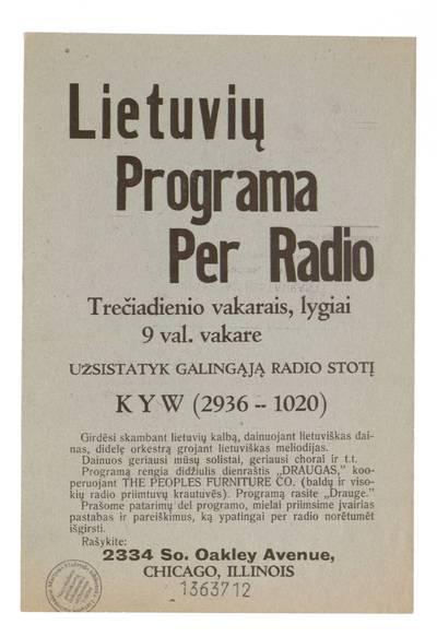 Lietuvių programa per radio trečiadienio vakarais, lygiai 9 val. vakare. - apie 1920-1940