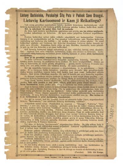 Lietuvy darbininke, perskaityk šitą pats ir paduok savo draugui. Lietuvių kariuomenė ir kam ji reikalinga? / LSS 234 kuopa. - 1924