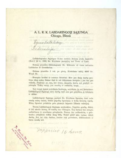 Labdaringosios sąjungos 11-tas metinis seimas įvyks lapkričio (Nov.) 16 d., 1930, Šv. Kryžiaus parapijoj ant Town of Lake ... / Labdaringosios sąjungos centro valdyba, A. L. R. K. labdaringoji sąjunga Chicago, Illinois. - 1930