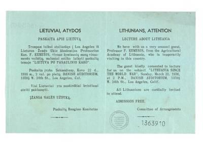 Lietuviai, atydos: paskaita apie Lietuvą / Paskaitų rengimo komitetas. - 1936