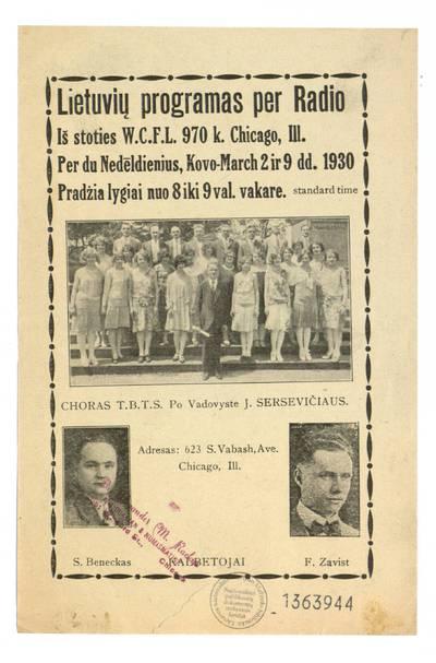 Lietuvių programas per radio iš stoties W. C. F. L. 970 k. Chicago, Ill. per du nedėldienius, kovo-March 2 ir 9 dd. 1930 ... - 1930