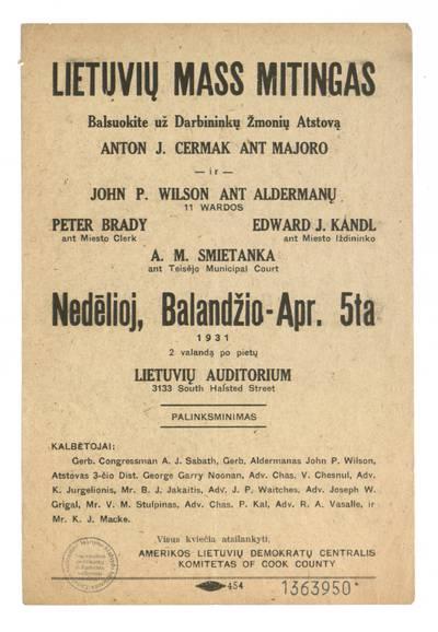 Lietuvių mass mitingas.