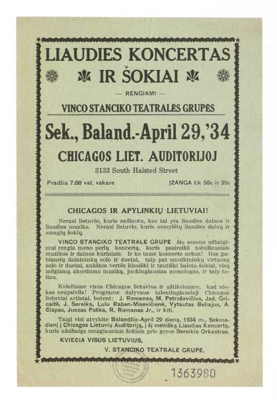 Liaudies koncertas ir šokiai rengiami Vinco Stanciko teatralės grupės sek., balan. - April 29, '34 Chicagos liet. auditorijoj / V. Stanciko teatralė grupė. - 1934