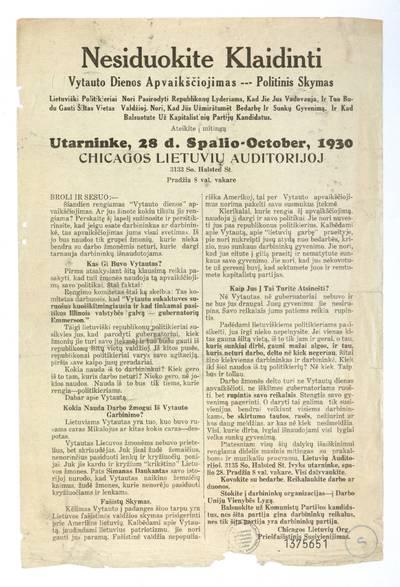 Nesiduokite klaidinti. Vytauto dienos apvaikščiojimas – politinis skymas ... Ateikite į mitingą utarninke, 28 d. spalio - October, 1930 Chicagos lietuvių auditorijoj ... / Chicagos lietuvių org. priešfašistinis susivienijimas. - 1930
