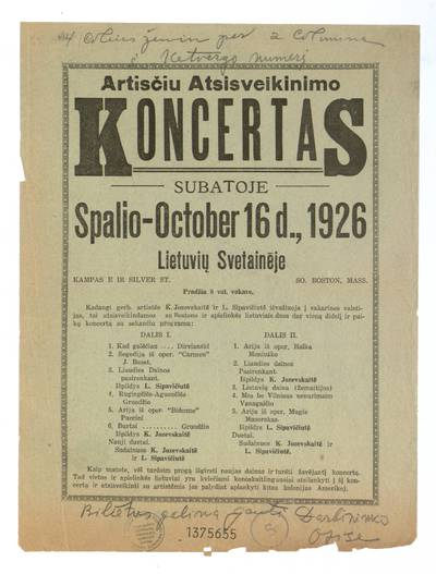 Artisčiu atsisveikinimo koncertas subatoje spalio - October 16 d., 1926 Lietuvių svetainėje So. Boston, Mass. - 1926