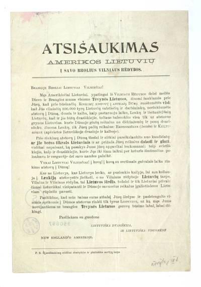 Atsišaukimas Amerikos lietuvių į savo brolius Vilniaus rėdybos. Brangųs broliai lietuviai vilniečiai!